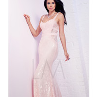 Powder Pink Sequin Lace Sheath Dress