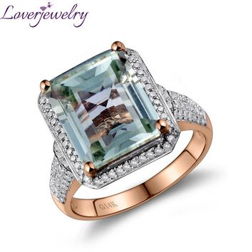 Emerald Cut  Natural Green Amethyst With Diamond Engagement Ring In Solid 14Kt Gold 10x12mm G00326