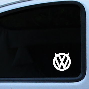 "VW Devil Logo Logo Vinyl Die Cut Decal Sticker 3"" In multiple of different colors"