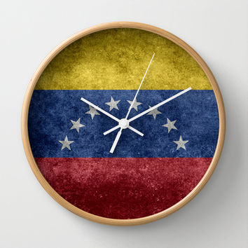 The national flag of the Bolivarian Republic of Venezuela - Vintage version Wall Clock by Bruce Stanfield