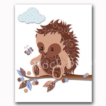 Hedgehog nursery wall art brown blue kids room decor baby boy artwork animal poster woodland print playroom decoration toddler shower gift