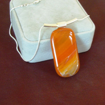 Desert Sunset Fused Glass  Statement  Pendant Necklace B1