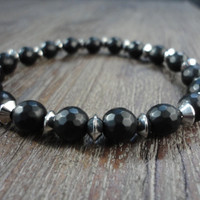 Black Jet Stone Beads and Stainless Steel Mens Beaded Bracelet/Matte Black/Silver Saucer Beads
