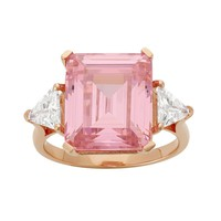 Cubic Zirconia 18k Rose Gold Over Silver 3-Stone Ring (Pink)