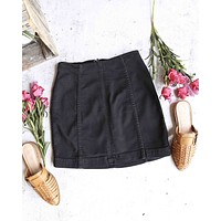free people - modern femme novelty mini denim skirt - black