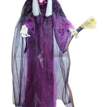 """66"""" Touch Activated Lighted Standing Witch & Broomstick Animated Halloween Decoration with Sound"""