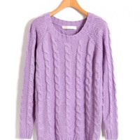 Purple Cable Knit Jumper in Loose Fit