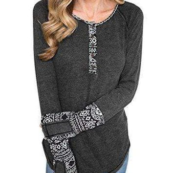 BLENCOT Women's Long Sleeve Floral Printed Casual Flare Henley Shirts Tunics Tops-Black Small