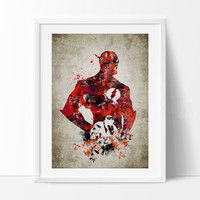 Flash  Print, Flash Poster, Barry Allen Wall Art, Superheroes Poster, Super Hero, Flash DC hero art, gift, Flash art print, Wall Art (273)