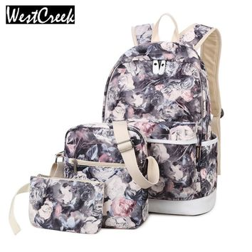 Brand Set Backpack Women Flower Printing Backpack Waterproof Canvas Backbag School Bags for Teenagers Girls Laptop Rucksack