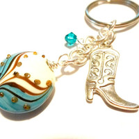 Country Western Cowboy Boot Keychain, Turquoise Blue Southwestern Key Ring, Made with Swarovski Elements