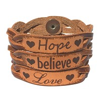 Hope, Believe & Love Leather Bracelets (All 3)