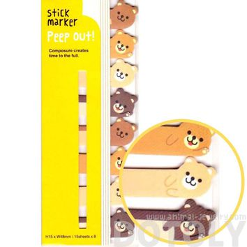 Teddy Bear Shaped Memo Post-it Peek Out Sticky Tabs | Animal Themed Stationery