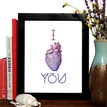 I Heart you, Anatomical Heart, 8 x 10 Giclee Art Print Upcled Collage Recycled Book Art Buy 2 Get 1 FREE
