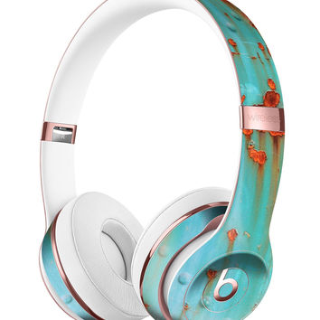 Teal Painted Rustic Metal Full-Body Skin Kit for the Beats by Dre Solo 3 Wireless Headphones