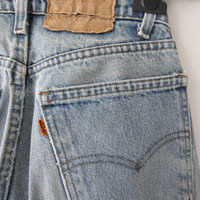80s Faded Blue Levi's Jeans, W27 L28 // Vintage Straight Leg Levis // Distressed Blue Jeans