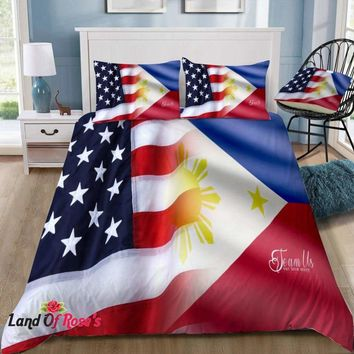 """3D Bedding Sets """"Team Us"""" USA and Philippine Flag Cover Set"""