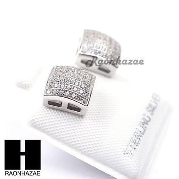 Sterling Silver .925 Lab Diamond 8mm Square Screw Back Earring SE020S