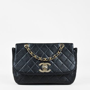 Chanel Black Caviar Leather Chain Strap Extra Large Flap Bag