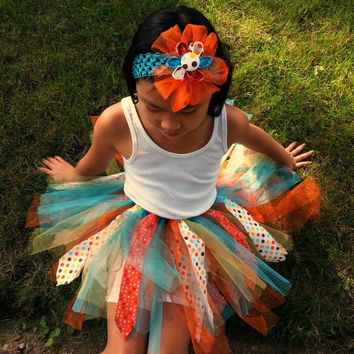 Fabric Tutu and Headband - 4 to 5 Year Old Tutu - Birthday Tutu - 4T to 5T Tutu - Aqua Orange Polka Dot - Scrappy Tutu - Girls Costume -