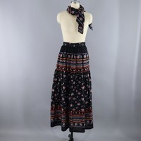 Vintage 1970s Maxi Skirt with Matching Scarf / Black Floral Print