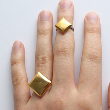 Gold Geometric Stackable Rings | Square Ring | Dainty Midiring | Adjustable