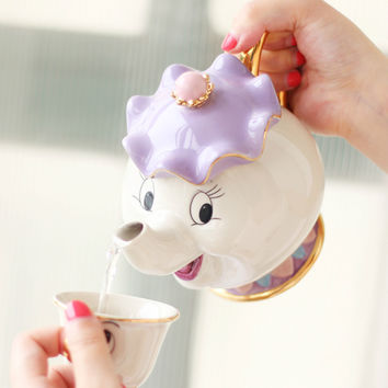 New style Cartoon Beauty And The Beast Teapot Mug Mrs Potts Chip Tea Pot Cup 2PCS One Set for collection
