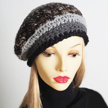 Handmade grey & brown cloche hat, Ready to ship, Chunky knit hat, Crocheted beret, Womans chic hat, OOAK hat, Teen girl hat
