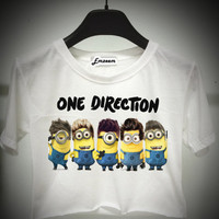 Minion one direction - despicable me - crop top - Unisex T-Shirt S M L - Print on fabric - Emzeem by PJ
