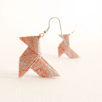 Grey and orange origami earrings