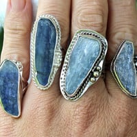 Blue Kyanite and Sterling Silver Ring