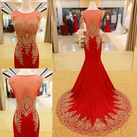 Applique Prom Dresses Prom Gown Evening Dress Beading Prom Dress