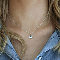 Tiny Heart Eyes Emoji Necklace, Love Emoji Jewelry for Girlfriend Birthday Ideas for Girlfriend, Sterling Silver Emoji Pendant, Bestie Charm