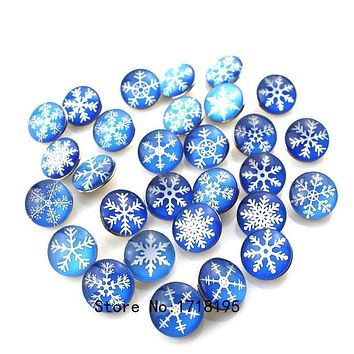 Snap on Charms for Bracelet Necklace DIY Findings Glass Snap Buttons Snowflake Design Fashion 2017