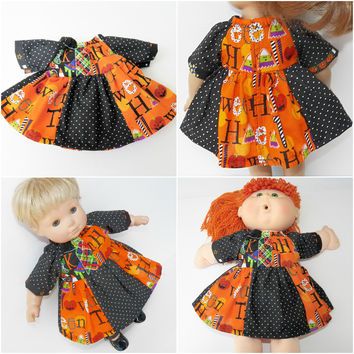 """HALLOWEEN Cabbage Patch 16"""" KIDS or Bitty Baby 15"""" doll or 18"""" clothes,  orange black trick or treat dress, adorabledolldesigns handmade"""