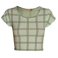 Short Sleeve Check Crepe High Neck Crop Top Green