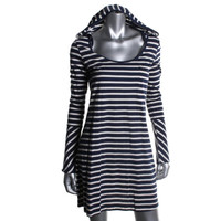 Nanette Lepore Womens Striped Hooded Shirtdress