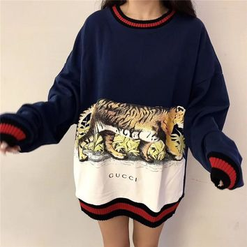 Gucci Loose Long  Women  Velvet  Autumn Pattern Round Neck Fashion Sweater