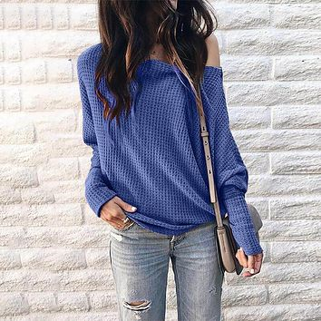 Scoop Neck Lantern Sleeve Pure Color Sweater