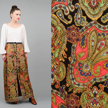 Vintage 70s Skirt Psychedelic Maxi Skirt Ethnic Print Paisley Skirt Scarf Print Quilted Maxi Skirt High Waist 1970s Long Skirt Medium M 28