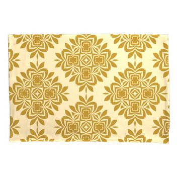 Golden Brown Damask Pattern Pillowcase