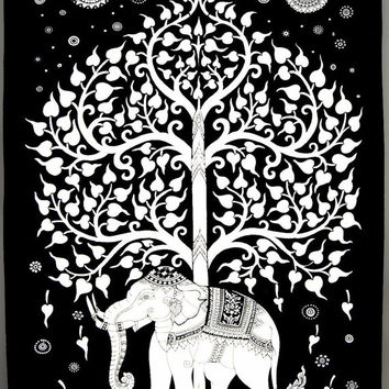 Black and white Twin tree elephant Mandala Tapestry Indian Wall Hanging Bohemian Hippie boho bohomien Bedspread Throw home Decor