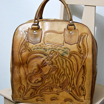 70s Vintage TOOLED Leather Bag Large Tan Bowling Bag Doctors Bag Mexican Folk Art Embossed Jaguar + Floral Big Carryall Boho Hippie 1970 vtg