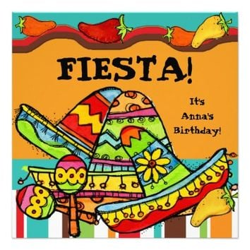 Fiesta Customized Birthday Invitations
