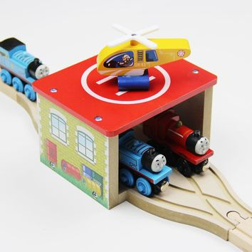 Thomas and Friends -- Fashion Thomas Wooden Train Track Railway Accessories Baby Toy --One Set 4PCS Helicopter Parking Apron