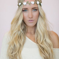 Hippie Rose Headband - White