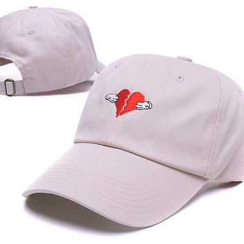 Tan Khaki Embroidery Kanye West 808's & HEARTBREAK YEEZY YEEZUS HEART BREAK Baseball Cap Hip Hop Women & Men Strapback Dad Hat