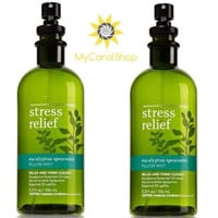 Bath & Body Works Eucalyptus Spearmint Stress Relief Pillow Mist 5.3oz *2 pack*