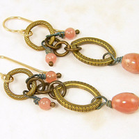 Pink Chandelier Earrings - Dusty Rose Gemstone Rustic Brass Circle Dangle Fashion Under 25 for Her