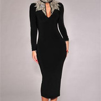 2016 Winter Dress Long Sleeve Women Elegant Bodycon Dresses LC6908 Hot Sale Black Gold/Navy Silver Sequins Mock Neck Midi Dress